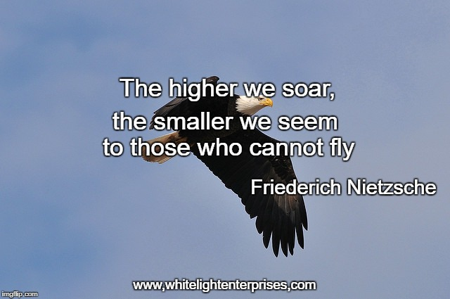 We Who Soar | The higher we soar, the smaller we seem to those who cannot fly Friederich Nietzsche www,whitelightenterprises,com | image tagged in growth,soar,flight,strength | made w/ Imgflip meme maker