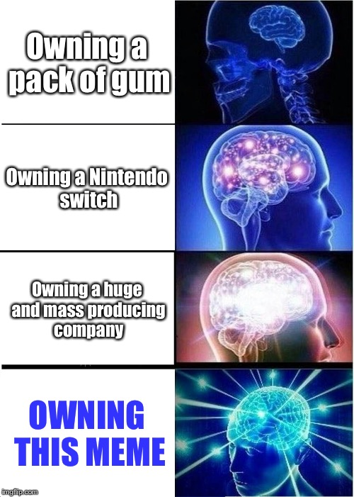 Owning this meme |  Owning a pack of gum; Owning a Nintendo switch; Owning a huge and mass producing company; OWNING THIS MEME | image tagged in memes,expanding brain | made w/ Imgflip meme maker