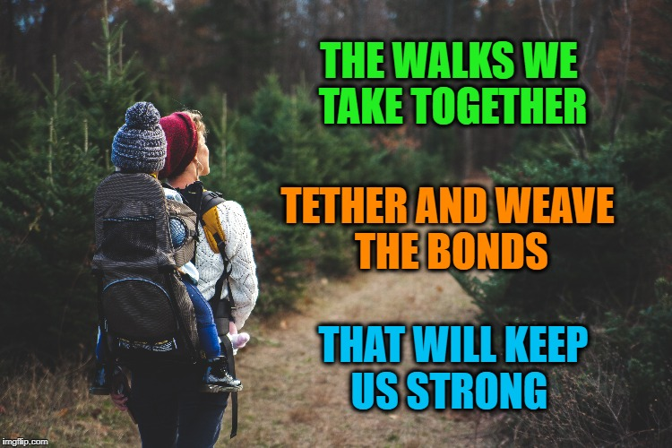 Tether and Weave | THE WALKS WE TAKE TOGETHER TETHER AND WEAVE THE BONDS THAT WILL KEEP US STRONG | image tagged in bonds,family,life,inspirational quote,motivation,goals | made w/ Imgflip meme maker