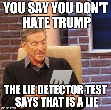 Maury Lie Detector Meme | YOU SAY YOU DON'T HATE TRUMP THE LIE DETECTOR TEST SAYS THAT IS A LIE | image tagged in memes,maury lie detector | made w/ Imgflip meme maker