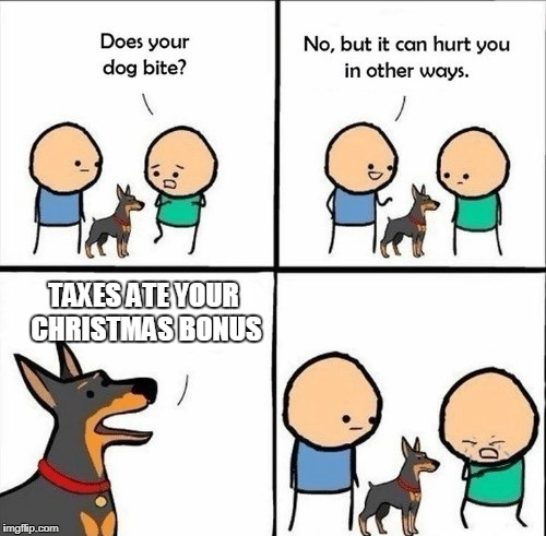 does your dog bite | TAXES ATE YOUR CHRISTMAS BONUS | image tagged in does your dog bite | made w/ Imgflip meme maker