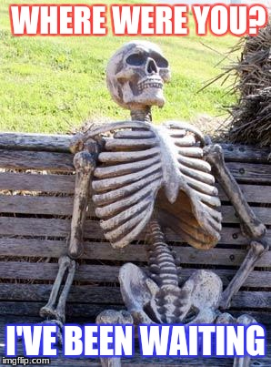 Waiting Skeleton Meme | WHERE WERE YOU? I'VE BEEN WAITING | image tagged in memes,waiting skeleton | made w/ Imgflip meme maker