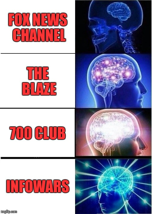 Expanding Brain Meme | FOX NEWS CHANNEL THE BLAZE 700 CLUB INFOWARS | image tagged in memes,expanding brain | made w/ Imgflip meme maker