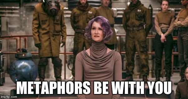 That's what I heard her say. | METAPHORS BE WITH YOU | image tagged in star wars,the last jedi,memes,metaphors,the force | made w/ Imgflip meme maker