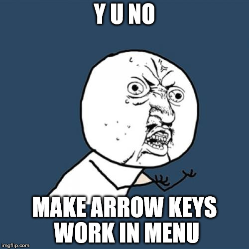 Y U No Meme | Y U NO MAKE ARROW KEYS WORK IN MENU | image tagged in memes,y u no | made w/ Imgflip meme maker