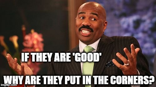 Steve Harvey Meme | IF THEY ARE 'GOOD' WHY ARE THEY PUT IN THE CORNERS? | image tagged in memes,steve harvey | made w/ Imgflip meme maker