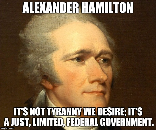ALEXANDER HAMILTON IT'S NOT TYRANNY WE DESIRE; IT'S A JUST, LIMITED, FEDERAL GOVERNMENT. | image tagged in alexander hamilton | made w/ Imgflip meme maker