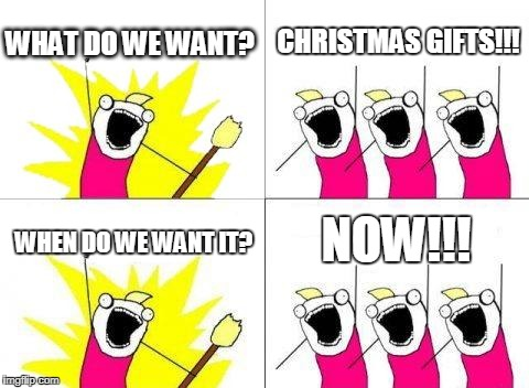 What Do We Want Meme | WHAT DO WE WANT? CHRISTMAS GIFTS!!! WHEN DO WE WANT IT? NOW!!! | image tagged in memes,what do we want | made w/ Imgflip meme maker