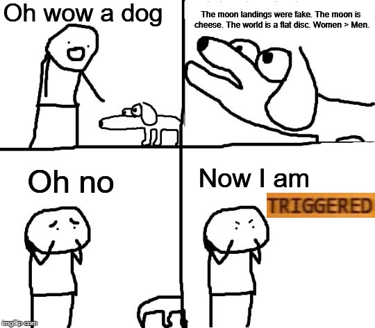 Triggering | Oh wow a dog The moon landings were fake. The moon is cheese. The world is a flat disc. Women > Men. Oh no Now I am TRIGGERED | image tagged in oh no its retarded blank,triggered,flat earthers,no really,this is nonsense,retarded dog | made w/ Imgflip meme maker