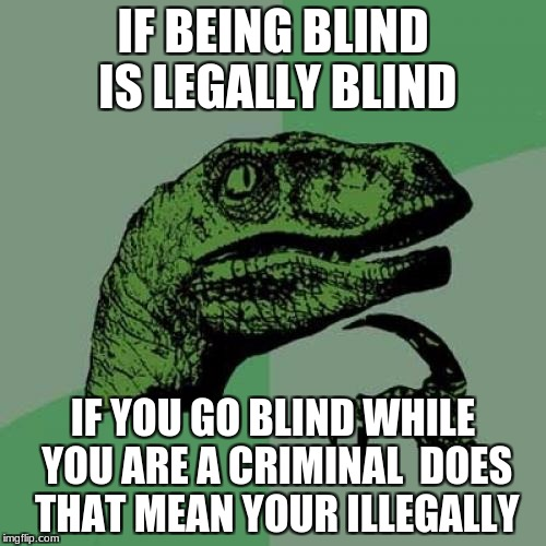 Philosoraptor Meme | IF BEING BLIND IS LEGALLY BLIND IF YOU GO BLIND WHILE YOU ARE A CRIMINAL  DOES THAT MEAN YOUR ILLEGALLY | image tagged in memes,philosoraptor | made w/ Imgflip meme maker