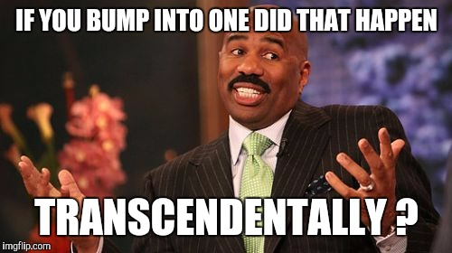 Steve Harvey Meme | IF YOU BUMP INTO ONE DID THAT HAPPEN TRANSCENDENTALLY ? | image tagged in memes,steve harvey | made w/ Imgflip meme maker