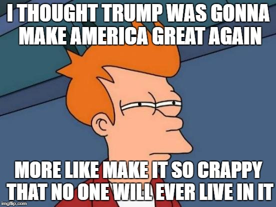 Futurama Fry Meme | I THOUGHT TRUMP WAS GONNA MAKE AMERICA GREAT AGAIN MORE LIKE MAKE IT SO CRAPPY THAT NO ONE WILL EVER LIVE IN IT | image tagged in memes,futurama fry | made w/ Imgflip meme maker