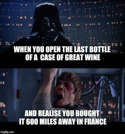 Star Wars No Meme | WHEN YOU OPEN THE LAST BOTTLE OF A  CASE OF GREAT WINE AND REALISE YOU BOUGHT IT 600 MILES AWAY IN FRANCE | image tagged in memes,star wars no | made w/ Imgflip meme maker