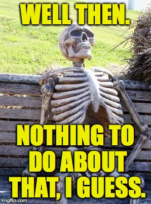 Waiting Skeleton Meme | WELL THEN. NOTHING TO DO ABOUT THAT, I GUESS. | image tagged in memes,waiting skeleton | made w/ Imgflip meme maker
