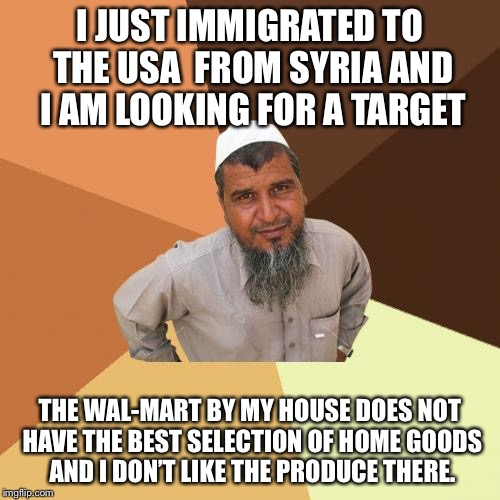 Ordinary Muslim Man Meme | I JUST IMMIGRATED TO THE USA  FROM SYRIA AND I AM LOOKING FOR A TARGET THE WAL-MART BY MY HOUSE DOES NOT HAVE THE BEST SELECTION OF HOME GOO | image tagged in memes,ordinary muslim man | made w/ Imgflip meme maker
