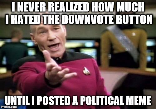Picard Wtf Meme | I NEVER REALIZED HOW MUCH I HATED THE DOWNVOTE BUTTON UNTIL I POSTED A POLITICAL MEME | image tagged in memes,picard wtf | made w/ Imgflip meme maker