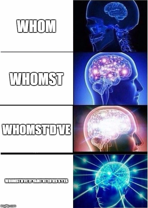 Expanding Brain Meme | WHOM WHOMST WHOMST'D'VE WHOMST'D'VE'LY'YAINT'NT'ED'IES'S'Y'ES | image tagged in memes,expanding brain | made w/ Imgflip meme maker