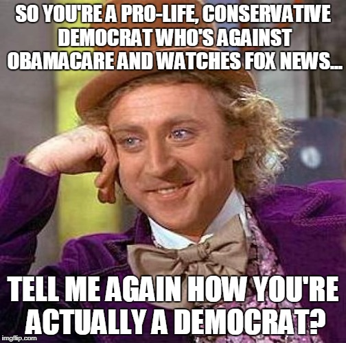 Creepy Condescending Wonka Meme | SO YOU'RE A PRO-LIFE, CONSERVATIVE DEMOCRAT WHO'S AGAINST OBAMACARE AND WATCHES FOX NEWS... TELL ME AGAIN HOW YOU'RE ACTUALLY A DEMOCRAT? | image tagged in memes,creepy condescending wonka | made w/ Imgflip meme maker