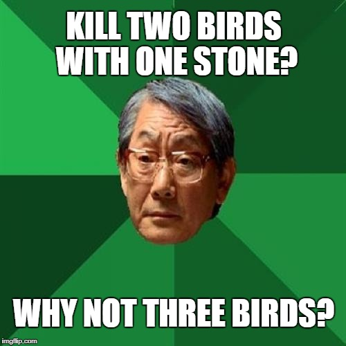 High Expectations Asian Father Meme | KILL TWO BIRDS WITH ONE STONE? WHY NOT THREE BIRDS? | image tagged in memes,high expectations asian father | made w/ Imgflip meme maker