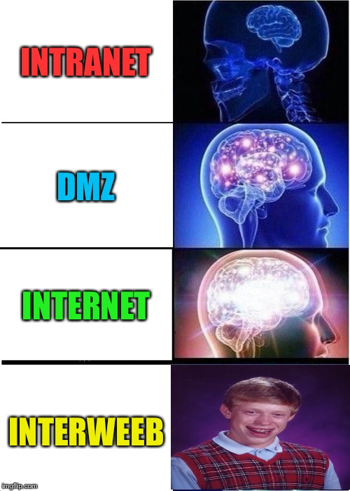 Expanding Brain Meme | INTRANET DMZ INTERNET INTERWEEB | image tagged in memes,expanding brain | made w/ Imgflip meme maker