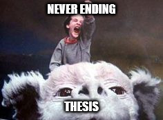 NEVER ENDING THESIS | image tagged in never ending story | made w/ Imgflip meme maker