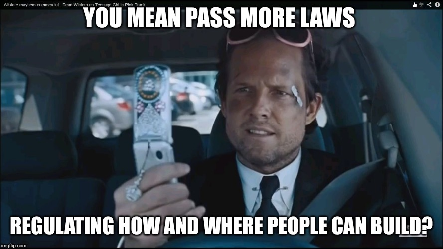 Mayhem Guy | YOU MEAN PASS MORE LAWS REGULATING HOW AND WHERE PEOPLE CAN BUILD? | image tagged in mayhem guy | made w/ Imgflip meme maker