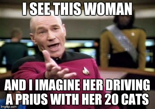 Picard Wtf Meme | I SEE THIS WOMAN AND I IMAGINE HER DRIVING A PRIUS WITH HER 20 CATS | image tagged in memes,picard wtf | made w/ Imgflip meme maker
