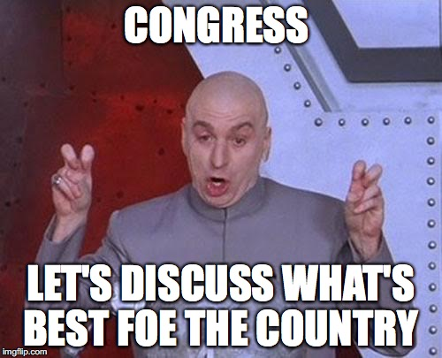 Dr Evil Laser Meme | CONGRESS LET'S DISCUSS WHAT'S BEST FOE THE COUNTRY | image tagged in memes,dr evil laser | made w/ Imgflip meme maker