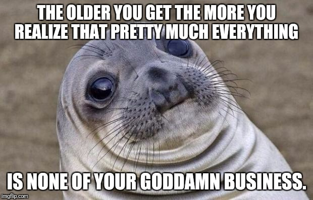 Awkward Moment Sealion Meme | THE OLDER YOU GET THE MORE YOU REALIZE THAT PRETTY MUCH EVERYTHING IS NONE OF YOUR GO***MN BUSINESS. | image tagged in memes,awkward moment sealion | made w/ Imgflip meme maker