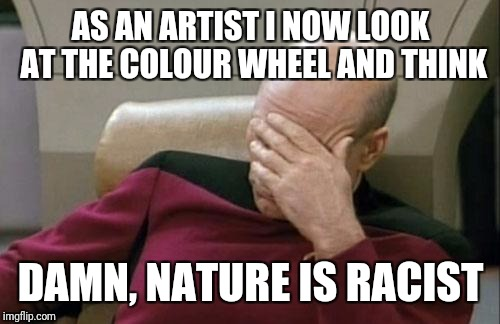 Captain Picard Facepalm Meme | AS AN ARTIST I NOW LOOK AT THE COLOUR WHEEL AND THINK DAMN, NATURE IS RACIST | image tagged in memes,captain picard facepalm | made w/ Imgflip meme maker