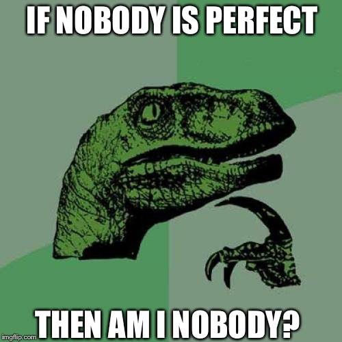Philosoraptor Meme | IF NOBODY IS PERFECT THEN AM I NOBODY? | image tagged in memes,philosoraptor | made w/ Imgflip meme maker