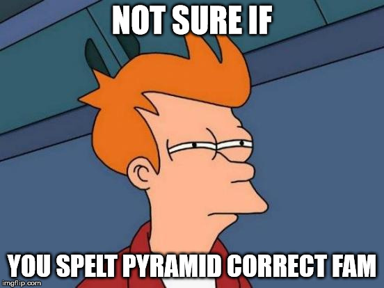 Futurama Fry Meme | NOT SURE IF YOU SPELT PYRAMID CORRECT FAM | image tagged in memes,futurama fry | made w/ Imgflip meme maker