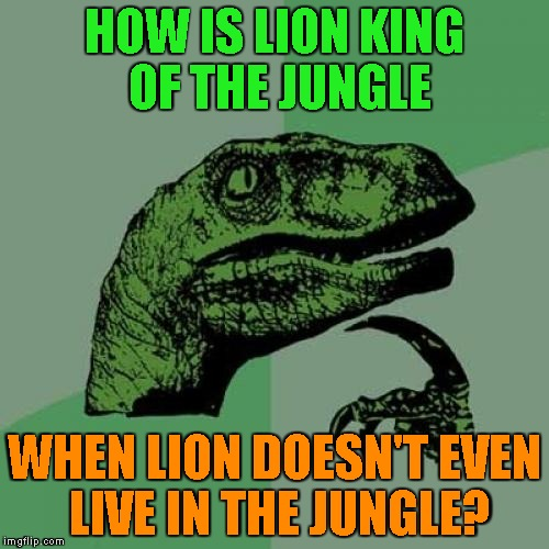 My whole childhood was a lie... | HOW IS LION KING OF THE JUNGLE WHEN LION DOESN'T EVEN LIVE IN THE JUNGLE? | image tagged in memes,philosoraptor,lion,jungle,king,powermetalhead | made w/ Imgflip meme maker