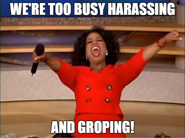 Oprah You Get A Meme | WE'RE TOO BUSY HARASSING AND GROPING! | image tagged in memes,oprah you get a | made w/ Imgflip meme maker