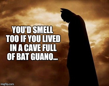Jungle bells, Batman smells... | YOU'D SMELL TOO IF YOU LIVED IN A CAVE FULL OF BAT GUANO... | image tagged in batman,jbmemegeek,christmas,christmas memes,sad batman | made w/ Imgflip meme maker