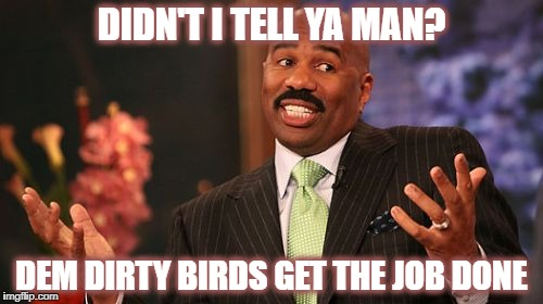 Steve Harvey Meme | DIDN'T I TELL YA MAN? DEM DIRTY BIRDS GET THE JOB DONE | image tagged in memes,steve harvey | made w/ Imgflip meme maker