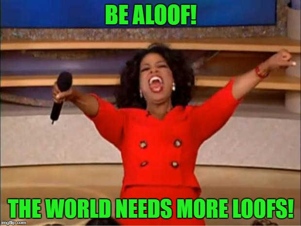 Oprah You Get A Meme | BE ALOOF! THE WORLD NEEDS MORE LOOFS! | image tagged in memes,oprah you get a | made w/ Imgflip meme maker