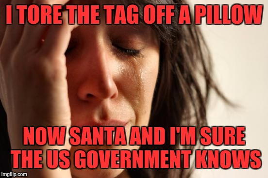 First World Problems Meme | I TORE THE TAG OFF A PILLOW NOW SANTA AND I'M SURE THE US GOVERNMENT KNOWS | image tagged in memes,first world problems | made w/ Imgflip meme maker