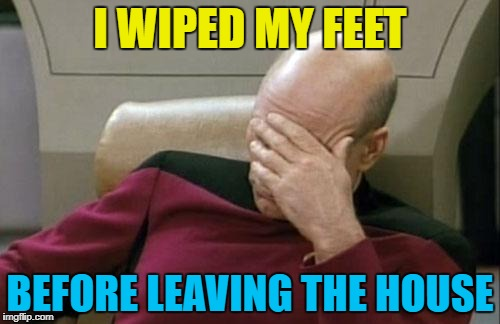 My house isn't dirty - honest! :) | I WIPED MY FEET BEFORE LEAVING THE HOUSE | image tagged in memes,captain picard facepalm,mistakes | made w/ Imgflip meme maker