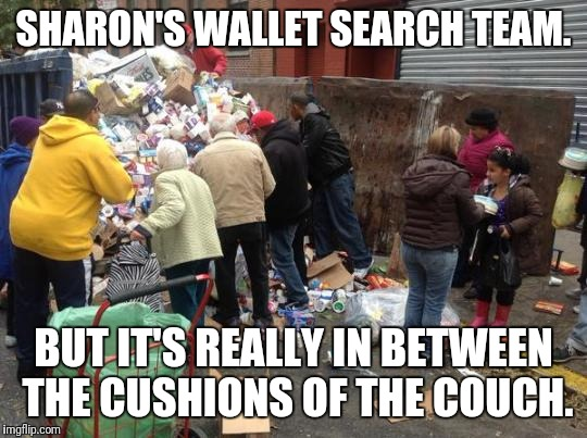 dumpster diving | SHARON'S WALLET SEARCH TEAM. BUT IT'S REALLY IN BETWEEN THE CUSHIONS OF THE COUCH. | image tagged in dumpster diving | made w/ Imgflip meme maker