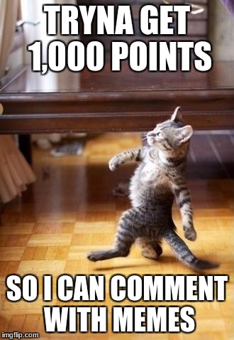 Cool Cat Stroll Meme | TRYNA GET 1,000 POINTS SO I CAN COMMENT WITH MEMES | image tagged in memes,cool cat stroll | made w/ Imgflip meme maker