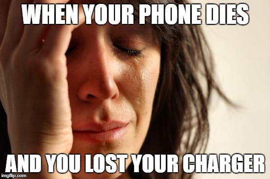 First World Problems Meme | WHEN YOUR PHONE DIES AND YOU LOST YOUR CHARGER | image tagged in memes,first world problems | made w/ Imgflip meme maker