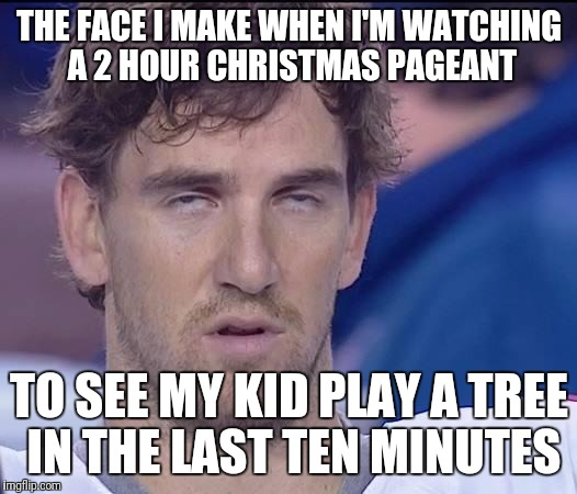 THE FACE I MAKE WHEN I'M WATCHING A 2 HOUR CHRISTMAS PAGEANT TO SEE MY KID PLAY A TREE IN THE LAST TEN MINUTES | image tagged in my face when | made w/ Imgflip meme maker