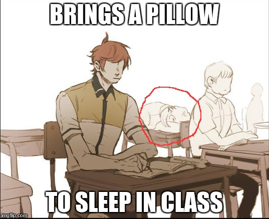 BRINGS A PILLOW TO SLEEP IN CLASS | image tagged in out of control,never understand,pillow,sleep,memes,class | made w/ Imgflip meme maker
