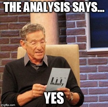 Maury Lie Detector Meme | THE ANALYSIS SAYS... YES | image tagged in memes,maury lie detector | made w/ Imgflip meme maker