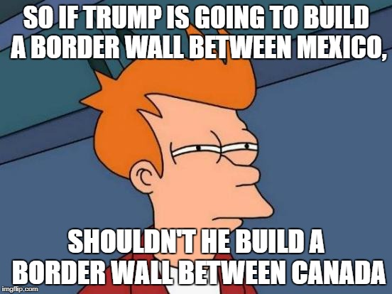 Futurama Fry Meme | SO IF TRUMP IS GOING TO BUILD A BORDER WALL BETWEEN MEXICO, SHOULDN'T HE BUILD A BORDER WALL BETWEEN CANADA | image tagged in memes,futurama fry | made w/ Imgflip meme maker