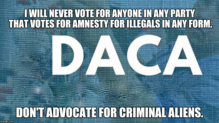 I WILL NEVER VOTE FOR ANYONE IN ANY PARTY THAT VOTES FOR AMNESTY FOR ILLEGALS IN ANY FORM. DON'T ADVOCATE FOR CRIMINAL ALIENS. | image tagged in daca | made w/ Imgflip meme maker