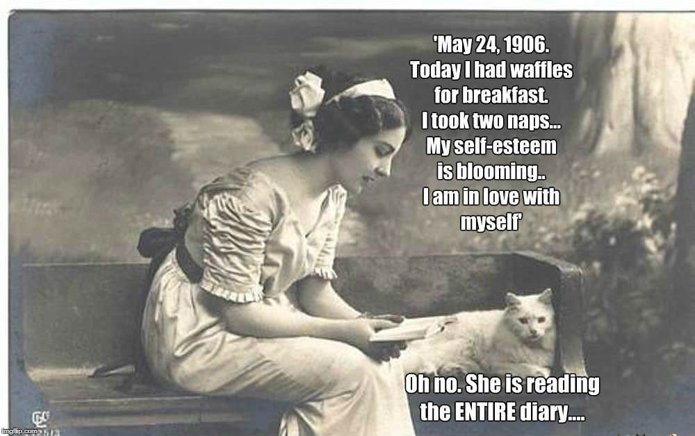 Diary of a Cat, 1906. Her Mistress Discovers It | image tagged in cats,diary | made w/ Imgflip meme maker