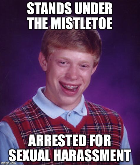 Bad Luck Brian Meme | STANDS UNDER THE MISTLETOE ARRESTED FOR SEXUAL HARASSMENT | image tagged in memes,bad luck brian | made w/ Imgflip meme maker