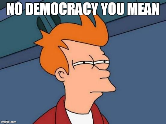 Futurama Fry Meme | NO DEMOCRACY YOU MEAN | image tagged in memes,futurama fry | made w/ Imgflip meme maker